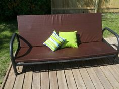 Awesome Patio Couch  Made With An Old Futon Frame, Foam, Waterproof Board, And