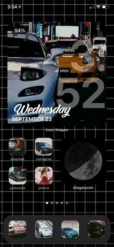 Ios 14 wallpaper layout aesthetic dark street race cars