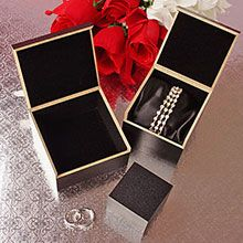Black Velvet Lined Hinged Wooden Boxes