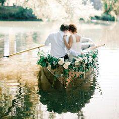 A romantic lakeside wedding inspiration board (photography by Anastasiya Belik)