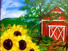 Acrylic Canvas - Red Barn with Sunflowers - Source: Painting With a Twist