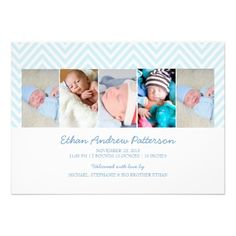 Baby Boy Zigzag Blue 5 Photo Birth Announcement! Make your own invites more personal to celebrate the arrival of a new baby. Just add your photos and words to this great design.