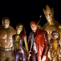 The Guardians Of The Galaxy-Drax,Gamora,Starlord,Groot and Rocket Raccoon
