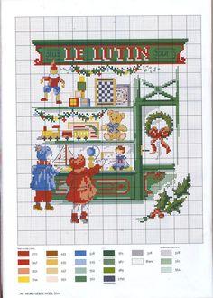 0 point de croix grille et couleurs de fils enfants devant vitrine de magasin de jouets le lutin