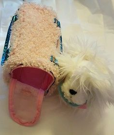 Pucci Pups Plush Stuffed White Maltese Puppy and Pink Carrier #B32