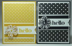 handmade cards ... clean and simple design ... monocromatic with inks and papers the same color ... patterned paper provides interest for the background ... flowers embossed or stamped with StazOn  ink on clear acetate sheet, punched out and layered ... quick and easy to do and still a finished look ... Stampin' Up!
