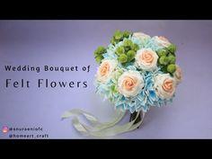 Round Wedding Bouquet - How to Make Flower Bouquet from Felt Flowers Felt Flower Bouquet, Felt Flowers, Diy Flowers, Paper Flowers, Diy Wedding Bouquet, Diy Bouquet, Making A Bouquet, Flower Making, Felt Flower Tutorial