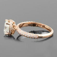 Moissanite, Moissanite Engagement Ring, Moissanite Rings, Forever Brilliant Moissanite, Forever Brilliant Moissanite Rings, Rose Gold Engagement Ring Vintage, Diamond Halo Ring, Halo Ring - LS3667