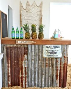 Does your Backyard Beach Getaway include a bar? Look at these fun Tiki bars and beach bars -they provide the perfect spot to sip on your su. Patio Bar, Porch Bar, Bares Tiki, Bar Vintage, Deco Surf, Backyard Beach, Beach Porch, Outside Bars, Tiki Bars