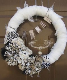 Black/White Halloween Wreath by LavenderandPumpkins on Etsy