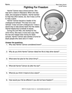 Fighting for Freedom, Lesson Plans - The Mailbox Social Studies Worksheets, Teaching Social Studies, Harriet Tubman For Kids, Teacher Forms, Vocabulary Activities, History Activities, African American History, American Women, Native American