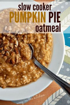Slow Cooker Pumpkin Pie Oatmeal | Throw it in your crockpot overnight and wake up to a delicious breakfast! It's so filling and healthy for you too! http://AmyinthKitchen.com