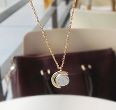 NL105 / Matt Gold or Silver / Turning Globe Necklace by BeadsPool