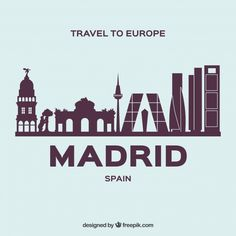 Modern skyline of madrid Free Vector Skyline Madrid, Madrid City, Mother's Day Background, Plaza Design, Christmas In Europe, Skyline Silhouette, Travel Cards, Night Photography, Vector Free