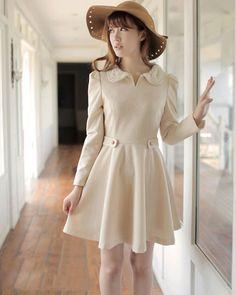 Fashion Cotton Blends Solid Lapel Long Puff Sleeve Slim Back Zipper Women Trench Coat