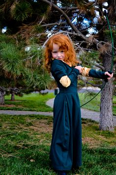 brave merida costume cosplay pixar disney princess green dress gold red hair redhead wig curly little girl 5 year old handmade diy make bow arrow cute Brave Princess Meridia