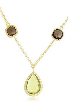 Women's Sterling Silver Lemon Quartz And Smokey Quartz Pendant Necklace