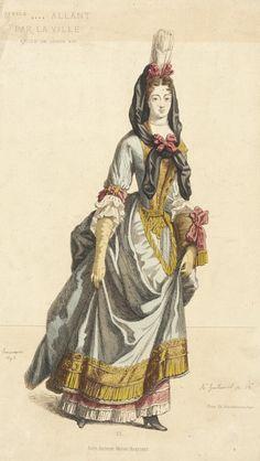 Fashion Plate (Melle Allant Par La Ville)  A. Guillaumot (France, active late 17th century)  Ch. Chardonaire (France, active late 17th century)  France, Paris, 1695  Prints; engravings  Hand-colored engraving