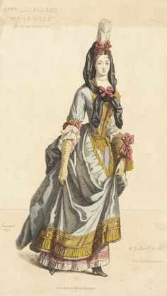 1695 French Fashion Plate (Melle Allant Par La Ville) at the Los Angeles County Museum of Art, Los Angeles