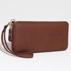 Women's Fashion Zip-Around Wallet w/ Detachable Wristlet Strap - Brown Color: Brown