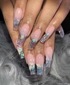 Broken glass nails are the hottest and the latest trend in nail art. You wear jewelry and other accessories to match your nails. The broken glass nails don't sound so terrible. Acrylic Nails Natural, Best Acrylic Nails, Acrylic Nail Art, Acrylic Nail Designs Coffin, Colored Acrylic Nails, Pink Acrylics, Dope Nails, Fun Nails, Polygel Nails