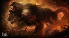 As described in the works of Homer and Hesiod, Cerberus is immensely huge and fierce. Hesiod says the beast has 50 heads and is an offspring of Echidna, the mother of all monsters and Typhon, the final son of Gaia. Its like three headed wolf. Medieval World, Medieval Fantasy, Dark Fantasy, Mythological Creatures, Fantasy Creatures, Mythical Creatures, Dark Creatures, Greek Underworld, Myths & Monsters
