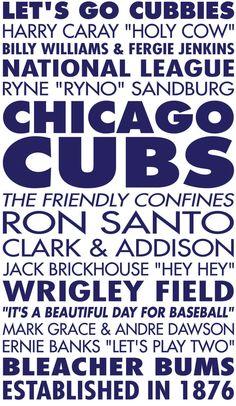 Chicago Cubs Baseball Sports Subway Art Vinyl Wall  Decal. $34.00, via Etsy.