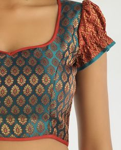 Teal Green Brocade Blouse with Puff Sleeves 1/2