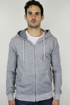 Save Khaki United French Terry Hooded Fleece in Heather Grey