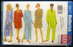 Butterick sewing pattern 5847 womens nightgown nightshirt sleep pants sizes 8, 10, 12, Fast and Easy, Free US shipping by FindersofKeepers, $9.97