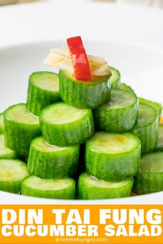 This Asian cucumber salad is healthy crunchy and refreshing Tossed in a simple dressing of rice vinegar sugar garlic chili oil A Din Tai Fung cucumber salad copycat recipe Cucumber Salad Vinegar, Asian Cucumber Salad, Persian Cucumber, Cucumber Recipes, Chicken Salad Recipes, Healthy Salad Recipes, Pickled Cucumber Recipe Asian, Tai Food Recipes, Cooking Recipes
