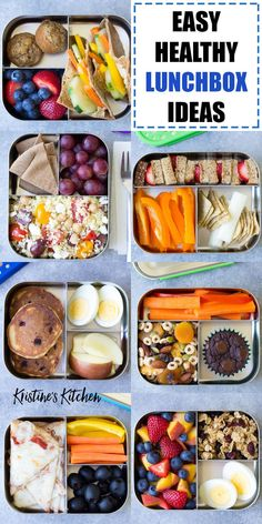 School lunch box ideas Easy school lunch ideas for kids! These healthy lunchbox ideas make lunch packing easy! These cold lunch ideas are ideal for kindergarten or elementary school. With many vegetarian options. Lunch Snacks, Healthy Packed Lunches, Healthy Snacks, Healthy Lunchbox Ideas, Lunch Box Recipes, Easy Snacks, Easy Meals, Cold School Lunches, Kids Lunch For School