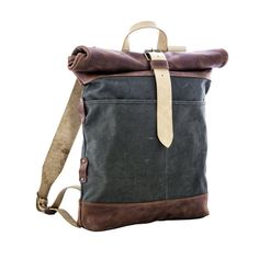 Sale 25% Canvas and leather backpack Roll top by KrukGarage