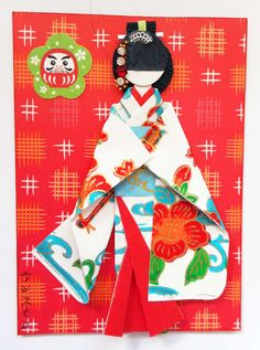 "ATC1271 - Beauty in a ""Furisode"" 2. ATC with handmade Japanese paper doll using Okinawa ""bingata"" paper, yuzen washi and origami paper."