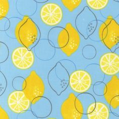 Metro Market Lemons Sky by Robert Kaufman Fabrics fruit cotton novelty fabric Textile Patterns, Print Patterns, Textiles, Tropical, Food Illustrations, Blue Fabric, Surface Pattern, Graphic Design Illustration, Geometric Shapes