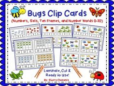 Bugs Clip Cards (Numbers 0-20, Sets, Ten Frames, and Number Words)These bug clip cards are great for math centers or early finishers. Copy each page onto tagboard for durability, laminate, cut cards apart (4 on each page), and place in a math center with a bag of clothespins.