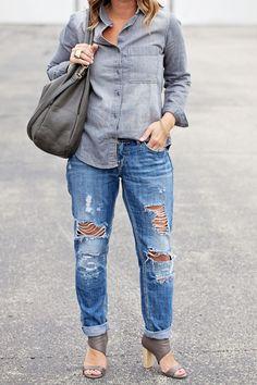 Kim Ray Grey denim, denim shirts, distressed jeans, ripped jeans, boyfriend jeans, denim shirt, grey purses, purses, denim on denim