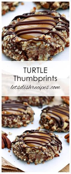Turtle Thumbprint Cookies Recipe: Delightful chocolate nut thumbprint cookies with a caramel filling and chocolate drizzle. Turtle Cookies, Turtle Thumbprint Cookies Recipe, Chocolate Thumbprint Cookies, Chip Cookies, Cookies Best, Reese's Cookies, Chocolate Caramel Cookies, Chocolate Liquor, Chocolate Oatmeal