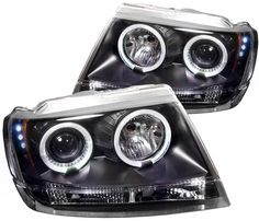 Jeep Grand Cherokee 1999 2000 2001 2002 2003 2004 Angel Eye Projector Headlights With Dual Lighted Halos
