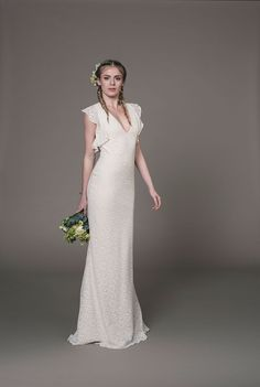 Sienna wedding dress- Eco- friendly cotton crochet lace fishtail gown with cap- sleeves and key- hole back by award- winning bridal designer Sanyukta Shrestha.