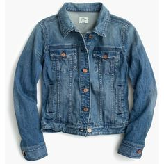 J.Crew Premium Stretch Denim Jacket (670 BRL) ❤ liked on Polyvore featuring outerwear, jackets, stretch denim jacket, tailored jacket, blue jackets, j crew jacket and fitted jacket