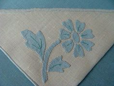 8 Vintage MADEIRA Blue Linen Napkins Hand Embroidered Applique Laundered