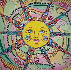Psychedelic Sunrise Singleton Hippie Art Collage Drawing :)