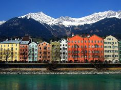 Innsbruck with a background of snowy Alps.