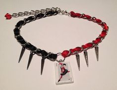 Harley Quinn Choker with Spikes by LovecraftsCreations on Etsy