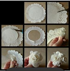 Deko: als Blume in eine Schüssel oder als Girlande Mehr You will love this cute paper doily flowers diy and they are so easy to recreate and look great. Flor de papel, paper doilies turned into flowers tutorial Cut flower costs with paper ones. Paper Doily Crafts, Doilies Crafts, Paper Doilies, Paper Flowers Diy, Handmade Flowers, Flower Crafts, Diy Paper, Fabric Flowers, Fabric Paper