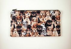 Puppy Zipper Pouch Make Up Bag Gadget Bag Pencil by HahnStitched, $12.00