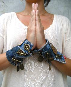Denim Cuff Bracelet - Levi Bracelet - Levis - Jeans Bracelet - Upcycled - Blue Denim Cuff  - Piece Lust.  via Etsy.