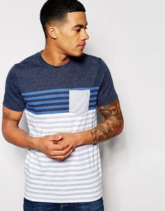 Image 1 ofAbercrombie & Fitch Logo Breton T-Shirt In Crew Neck