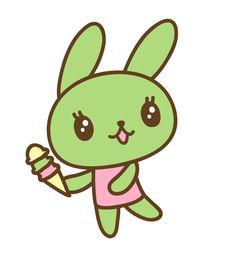 Matcha Bunny #kawaii #illustration #icecream #pastels #rabbit #easter